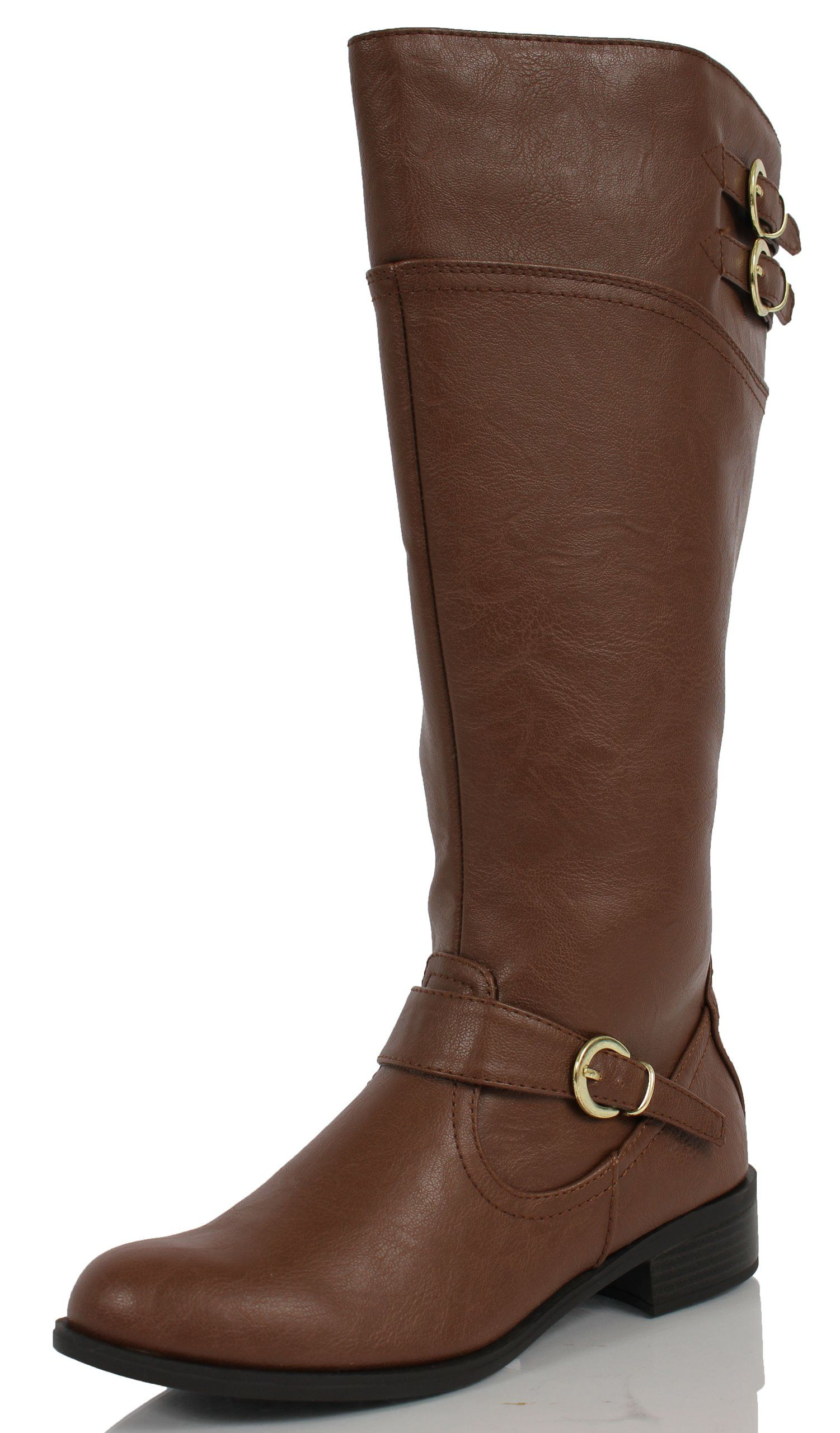 661e1dff965 Soda Wome's Golf Faux Leather Knee High Riding Boot Tan, 7 M US ...