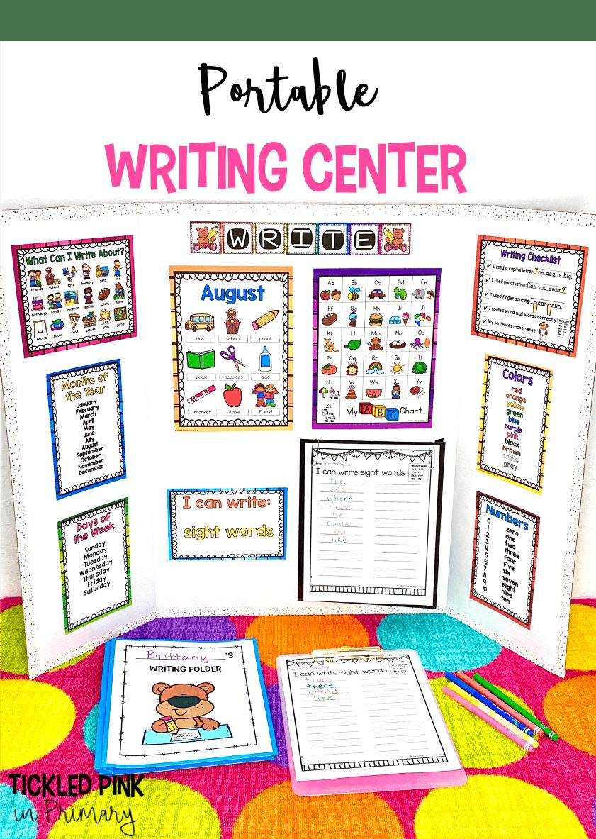 Writing Center For Kindergarten 1st Grade 2nd Grade Tickled Pink In Primary Writing Center Kindergarten Writing Center Writing Station Kindergarten