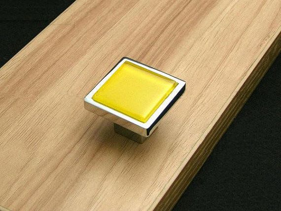 Luxury Yellow Glass Cabinet Knobs