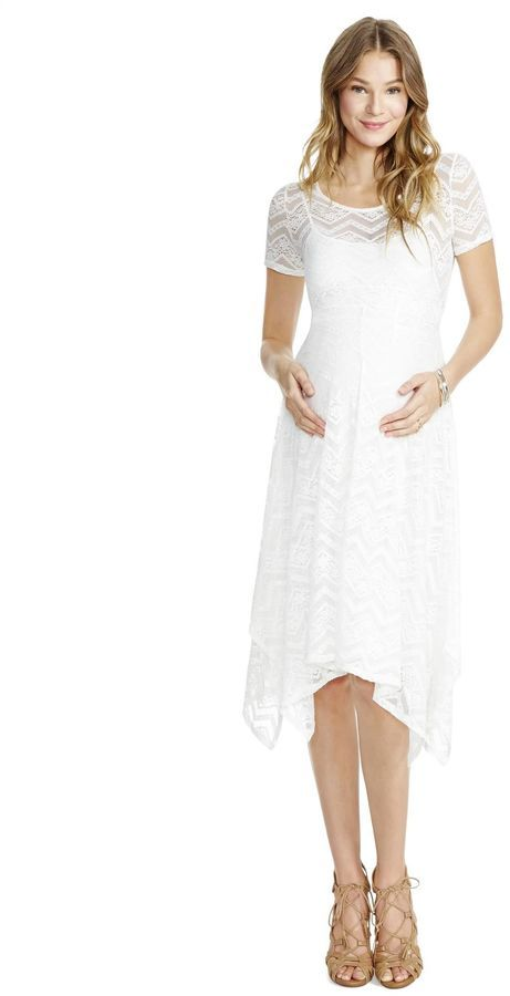 0f4c611f06b0b Motherhood Maternity Jessica Simpson Lace Hanky Hem Maternity Dress- White