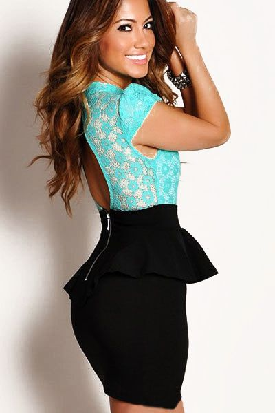 Blue Black Contrast Lace Ruffle Backless Bodycon Dress GBP£18.15