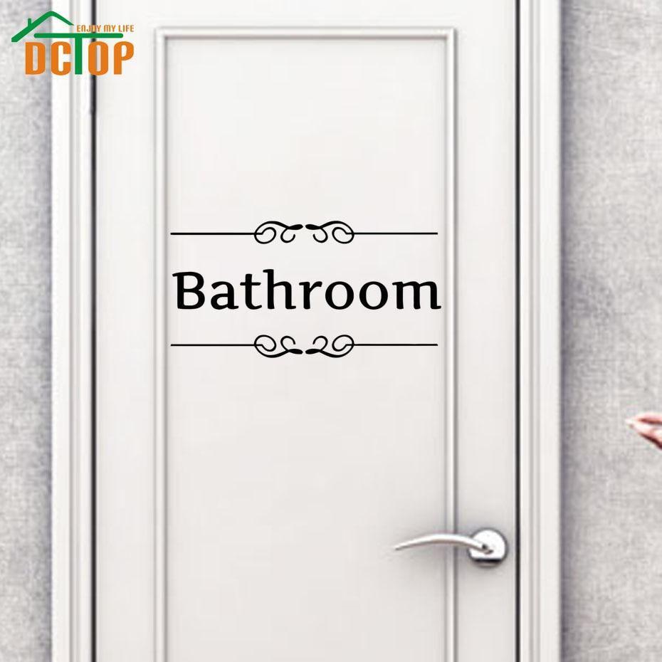 Dctop bathroom door sign black vinyl wall stickers adhesive stickers