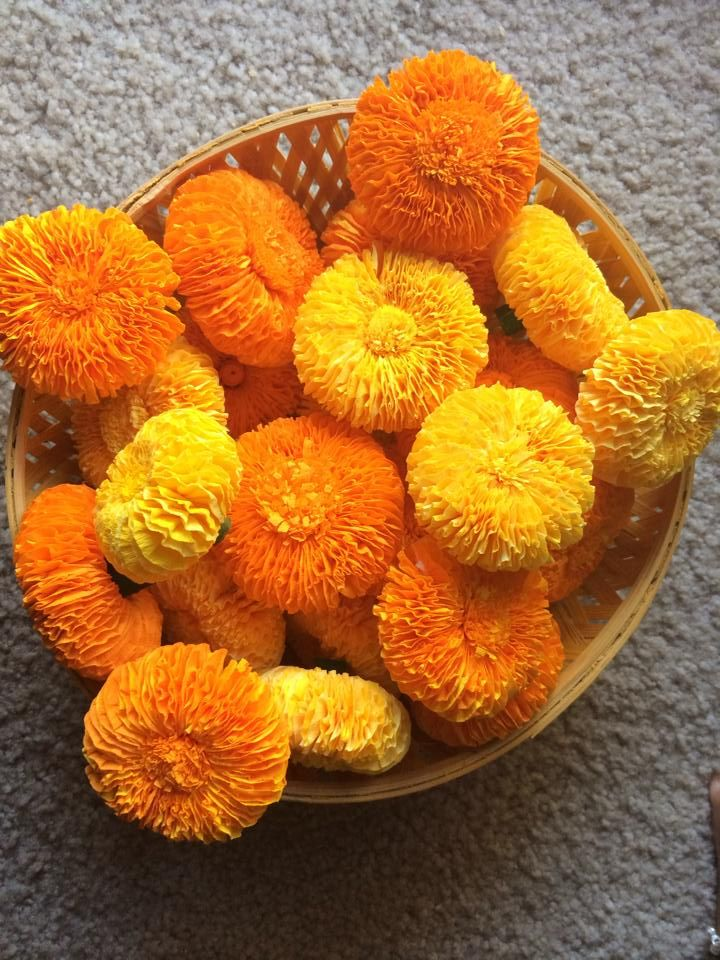 Marigold Flower With Crepe Paper Homemade Diwali And Paper Flowers