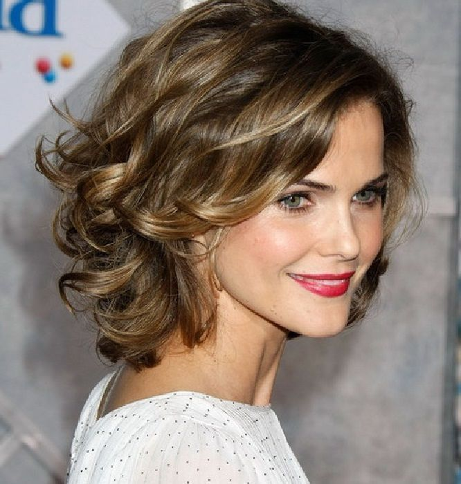 Layered Shoulder Length Wavy Curly Middle Age Woman S Hair Description Was Added By Someone