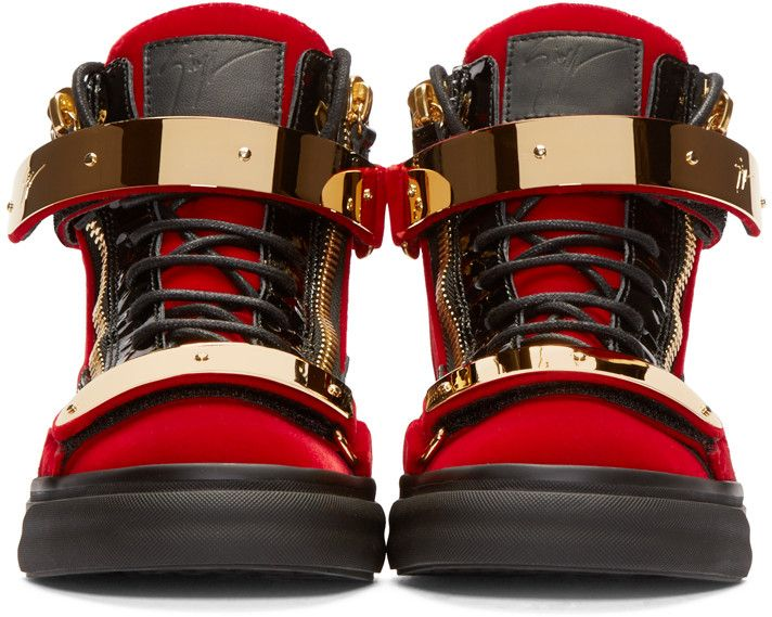 bed62c1d0b0a5 Giuseppe Zanotti Red & Black Velour High-Top London Sneakers ...