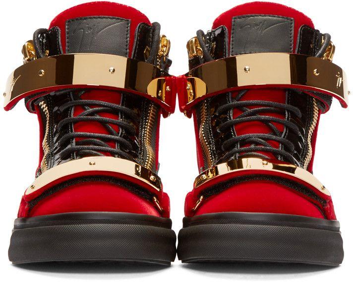 5c77f16728f76 Giuseppe Zanotti Red & Black Velour High-Top London Sneakers ...