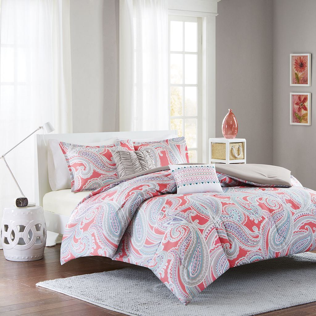 Maroon And Grey Bedroom