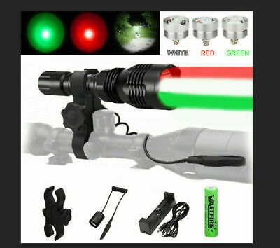 White//Red//Green LED C8 Flashlight Hunting Torch Light With Rifle Scope Mount