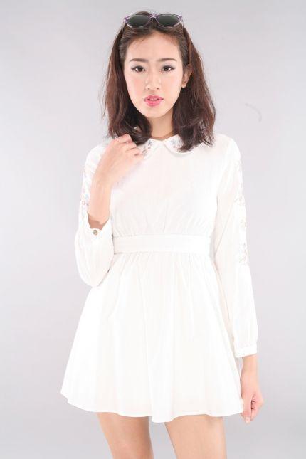 Elhem Floral Trim Peterpan Collar Dress - White | RUNWAY BANDITS