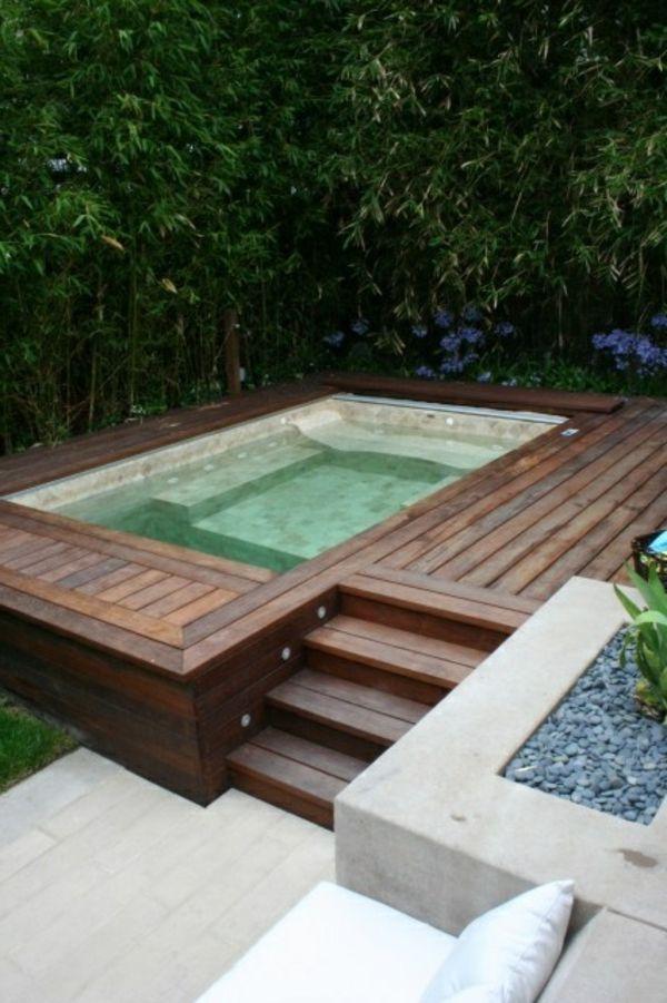 holz robust kiesel badewanne im garten genießen sommer Jacuzzi - reihenhausgarten und pool