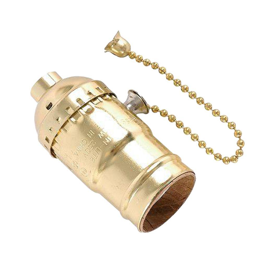 Ge Pull Chain Brass Lamp Socket Housing Aluminum 52204 The Home Depot Lamp Socket Brass Lamp Pull Chain