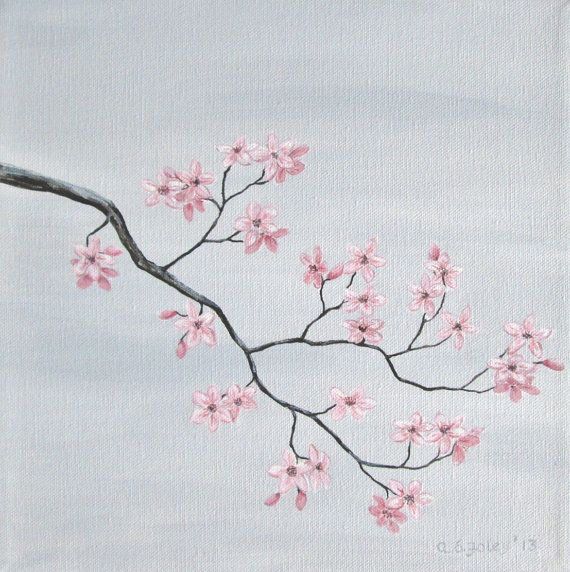 Cherry Blossom Painting Pink Cherry Blossoms Original Fine Art Nature Fine Art Pink Grey Gray Original Acrylic 10 X 10 Cherry Blossom Painting Blossoms Art Original Fine Art