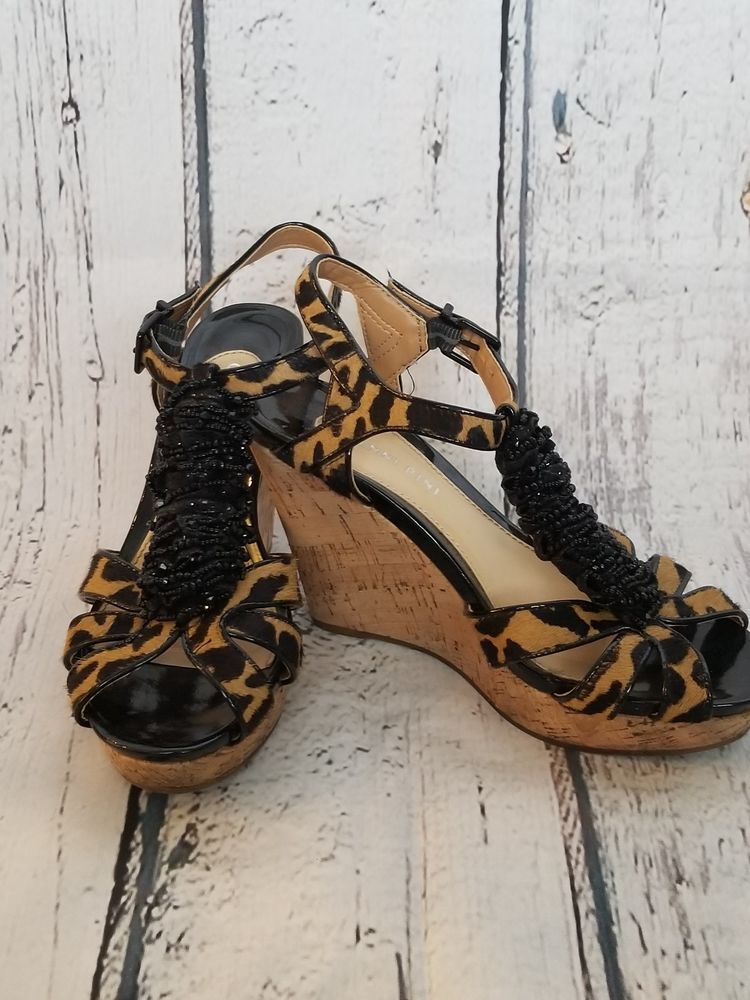 35a2d0f4f197 Women leopard real calf hair gianni bini beaded ruffle center cork jpg  750x1000 Calf hair gianni