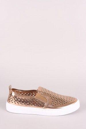 Qupid Perforated Metallic Low Top Slip On Sneaker