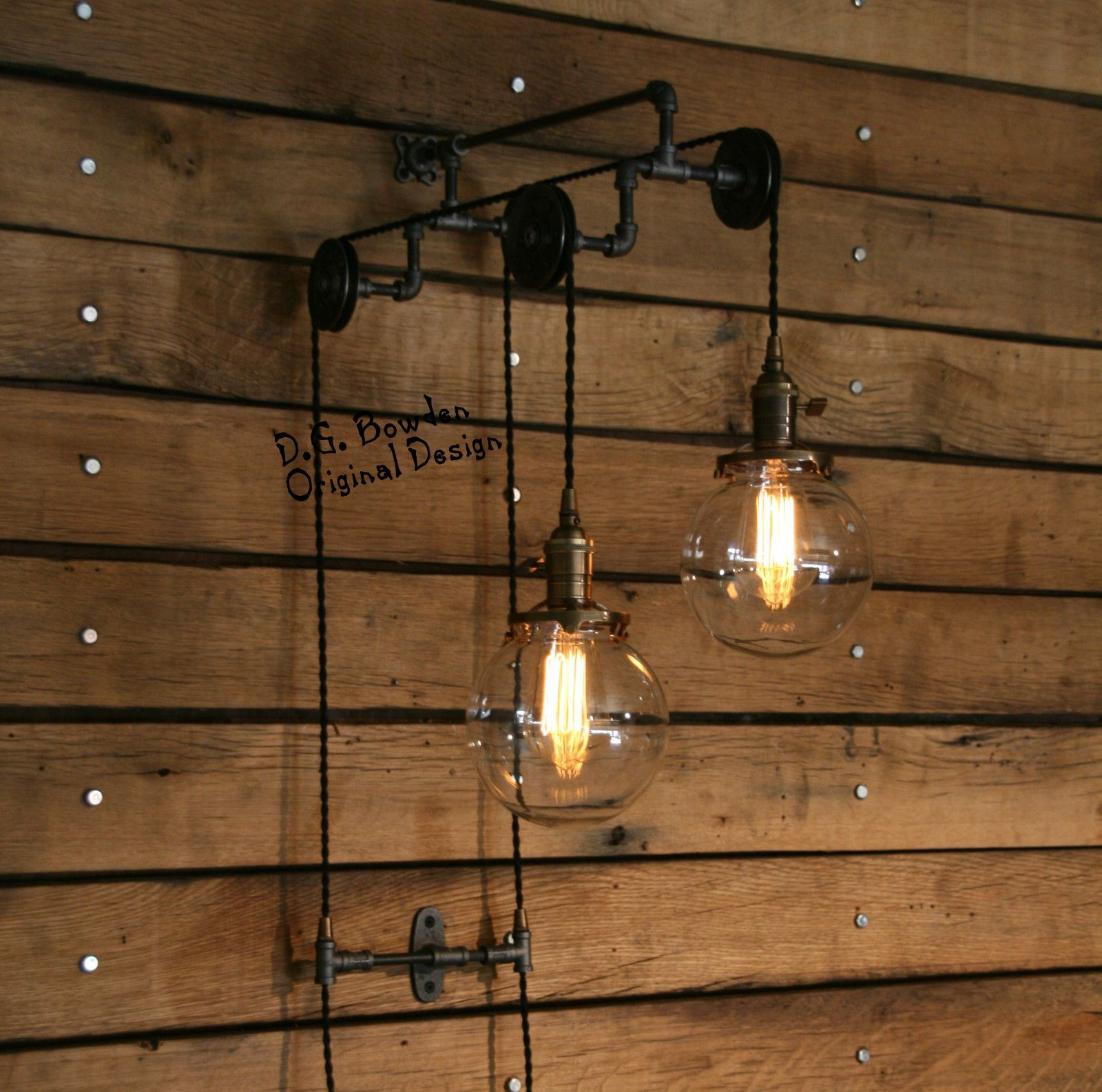 Industrial Trolley Pulley Wall Sconce 6 Glass Globes Vintage Cloth Light Exterior Wire Cage Lamp Cord Ebay Lamps