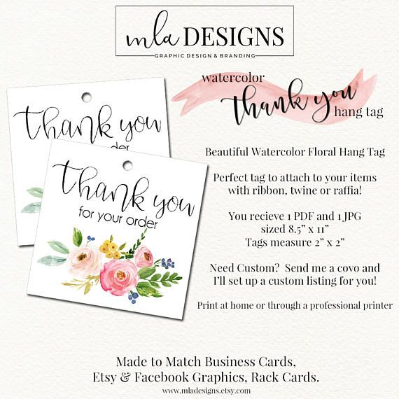 Thank You Hang Tag, Thank you Tags, Swing Tags, Package Inserts - hang tag template
