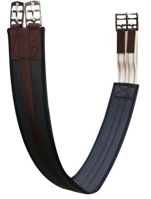 Showman Dark Leather ENGLISH GIRTH with Stainless Steel Double Buckles /& Elastic