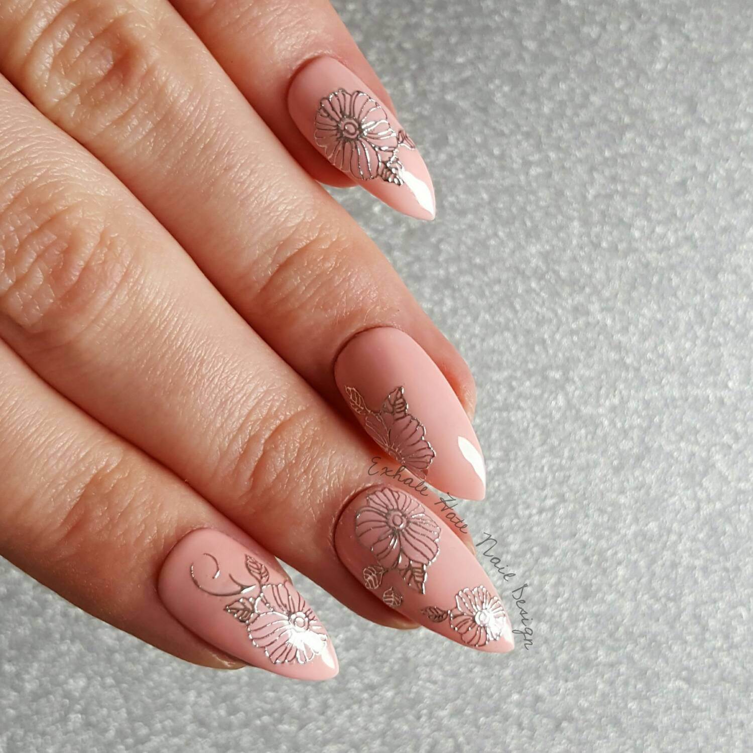 Pink & Silver Floral Cute Gel Polish Press On Fake Nails - Stiletto ...