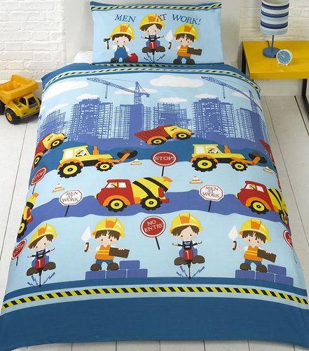 Men At Work Single Bedding Construction Building Site Trucks Diggers Construction Bedding Childrens Bedding Sets Mens Bedding Sets