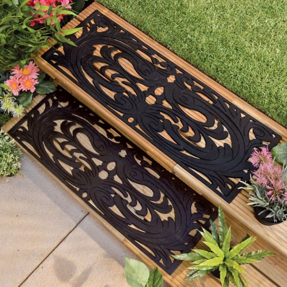 Rubber Stair Tread Mats Benefits : Inspiring Outdoor Garden Design With  Brown Wooden Steps And Black Rubber Tread Mats Combine With Green Grass