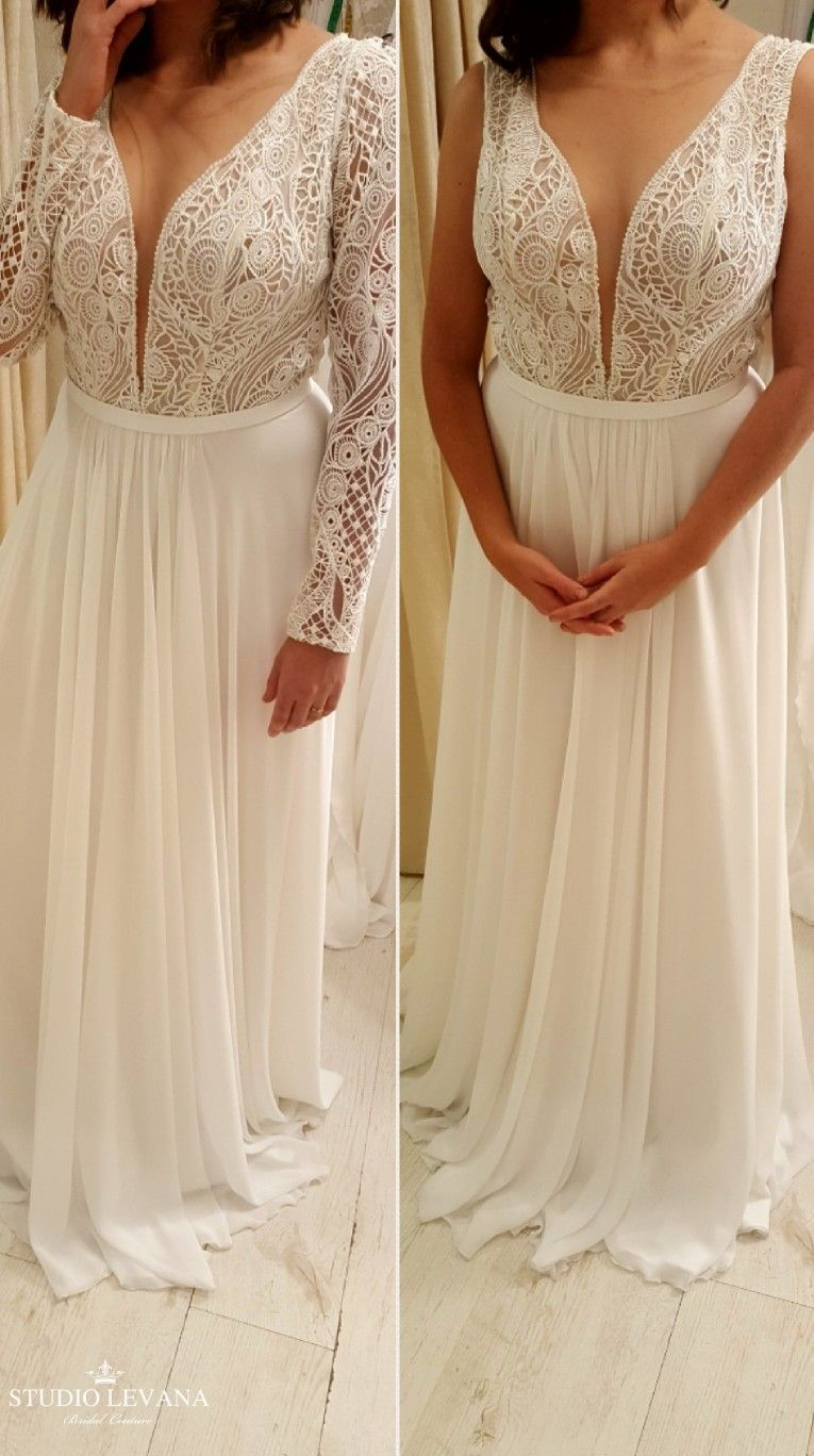 Plus size boho chic wedding gown with detachable long lace sleeves