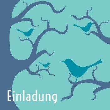 Einladung Mit Blauen Vögel