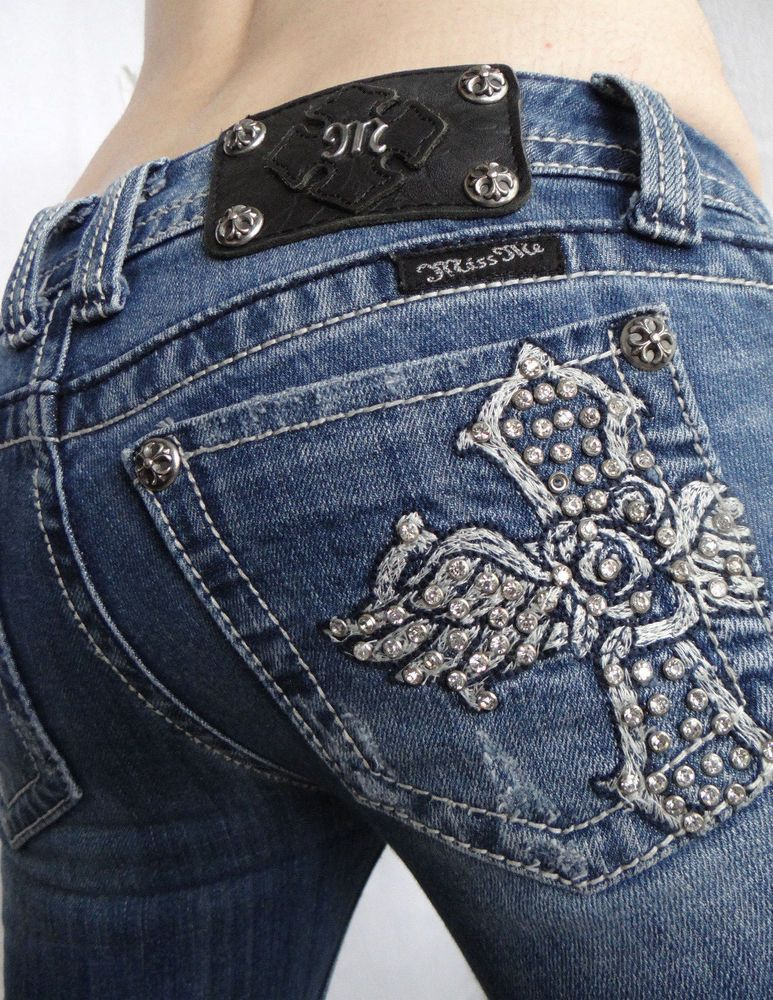 be65c357dea Miss Me Women Jeans Rose Crystal Cross Distressed JP5095 Low Rise Boot 25 x  33 #MissMe #BootCut