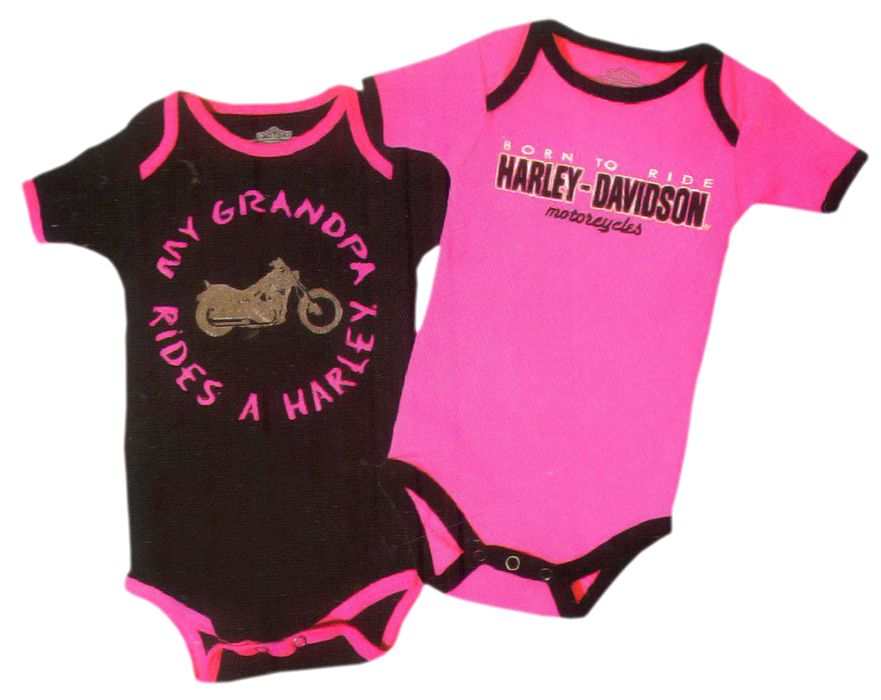 e797b4488 Harley-Davidson® Girls Baby Twin Pack Creeper My Grandpa Rides a Harley Pink