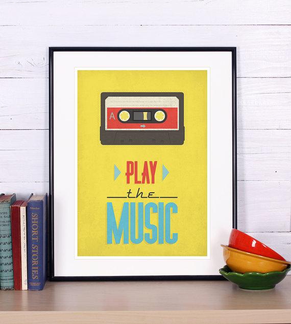 Retro print, cassette, tape poster, mid-century vintage poster ...