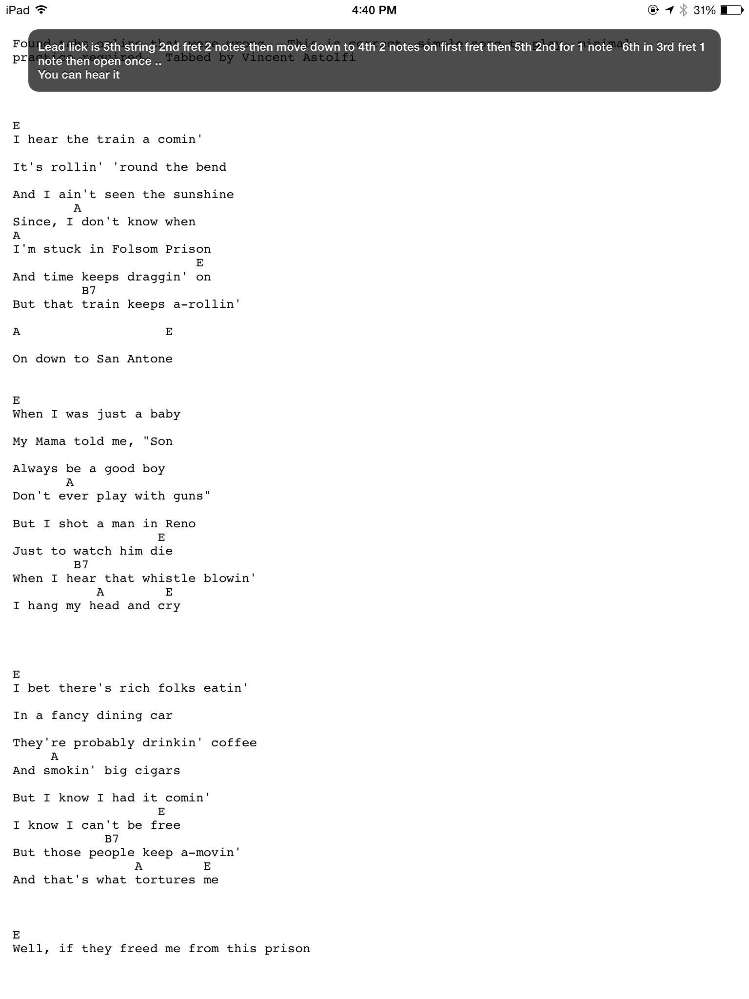Folsom prison blues some of my favorite tabs pinterest songs folsom prison blues hexwebz Images