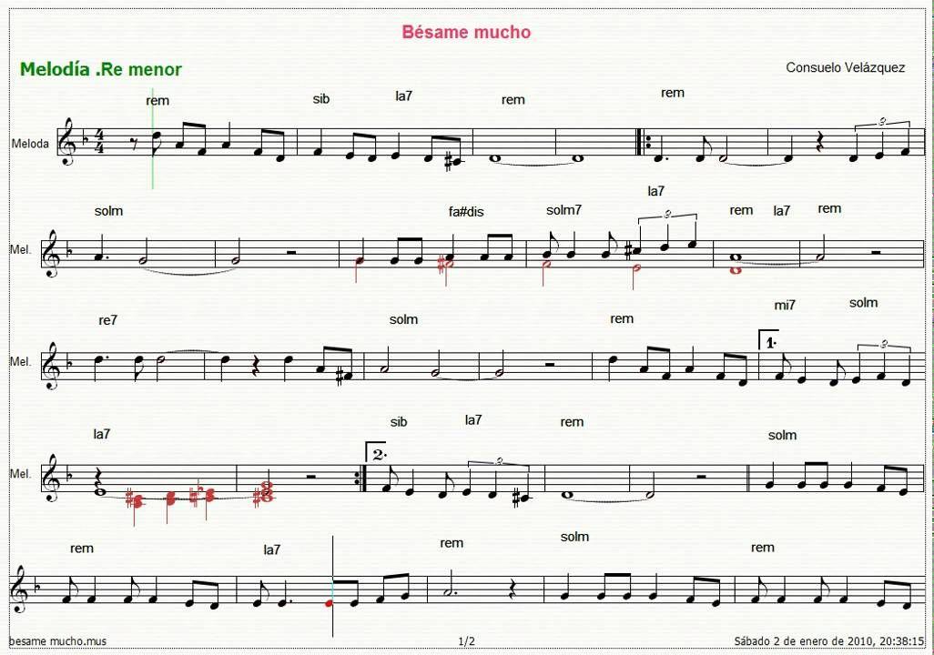 Guitar besame mucho guitar chords and lyrics : partitura de besame mucho para violin para imprimir - Buscar con ...