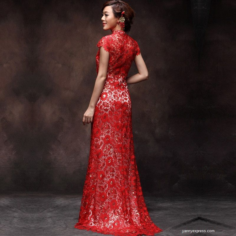 Red Lace Wedding Dress: Red Lace Wedding Dresses For Sophisticated Bridal Look