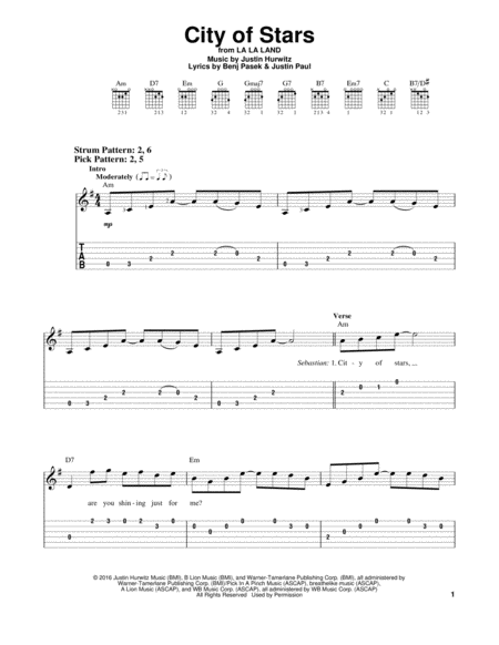 City Of Stars Sheet Music Digital Sheet Music Guitar Lessons Fingerpicking