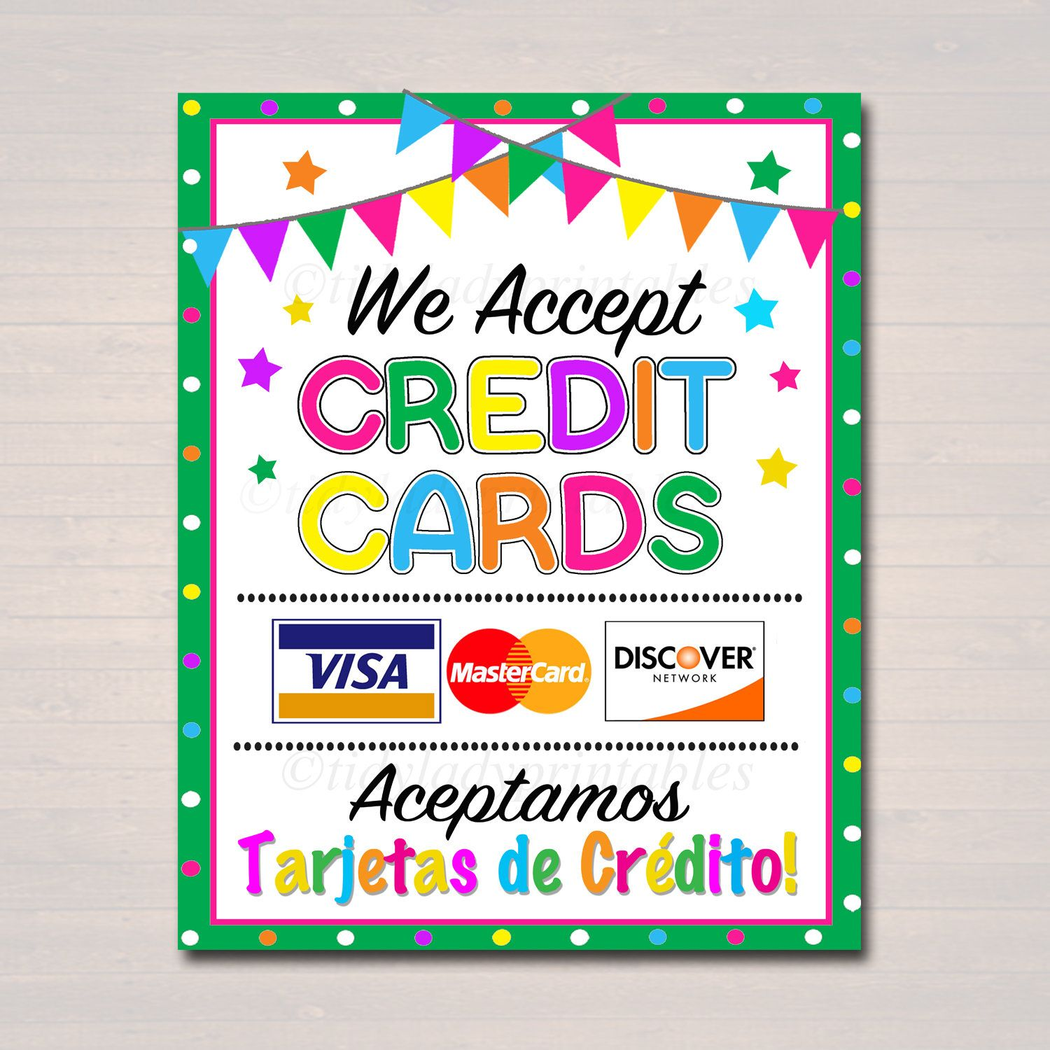 It is a photo of Magic We Accept Credit Card Signs Printable