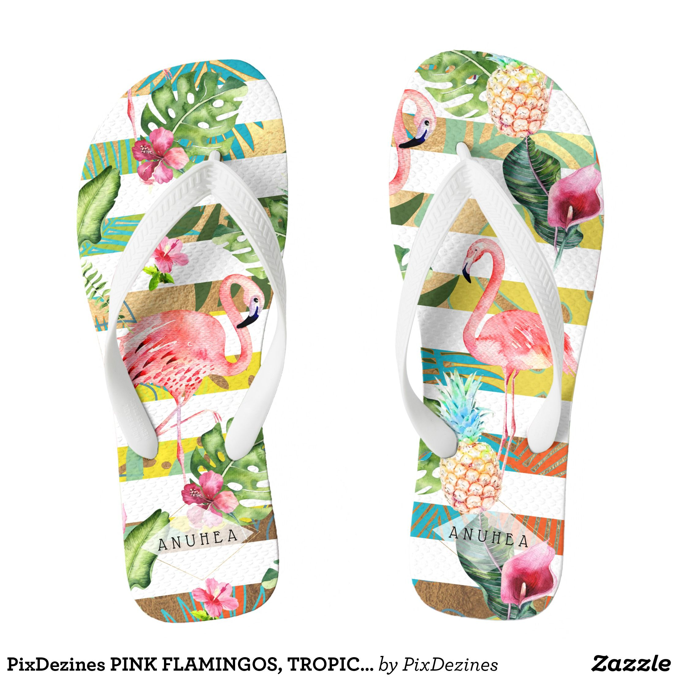 1233bc775952e5 PixDezines PINK FLAMINGOS TROPICAL THEME Flip Flops - Durable Thong Style  Hawaiian Beach Sandals By Talented