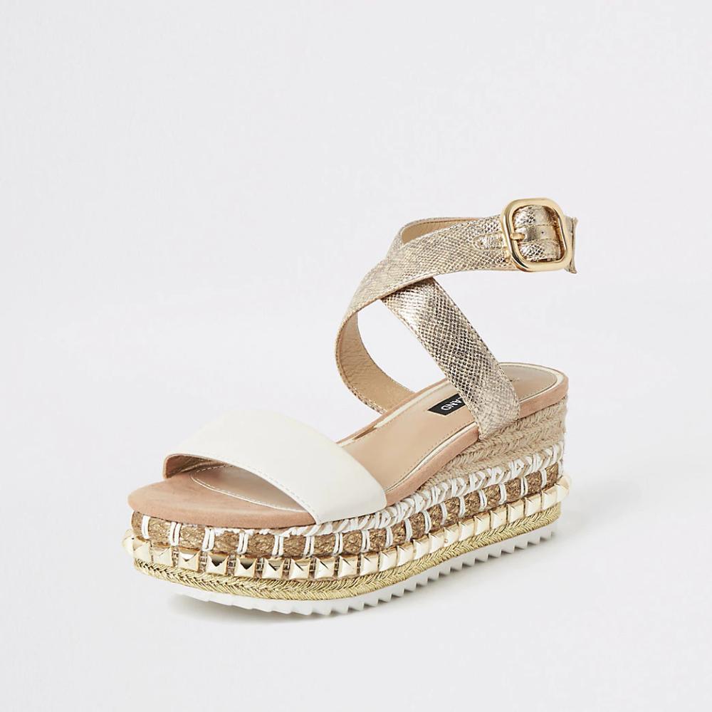 Beige Espadrille wedge flatform sandals