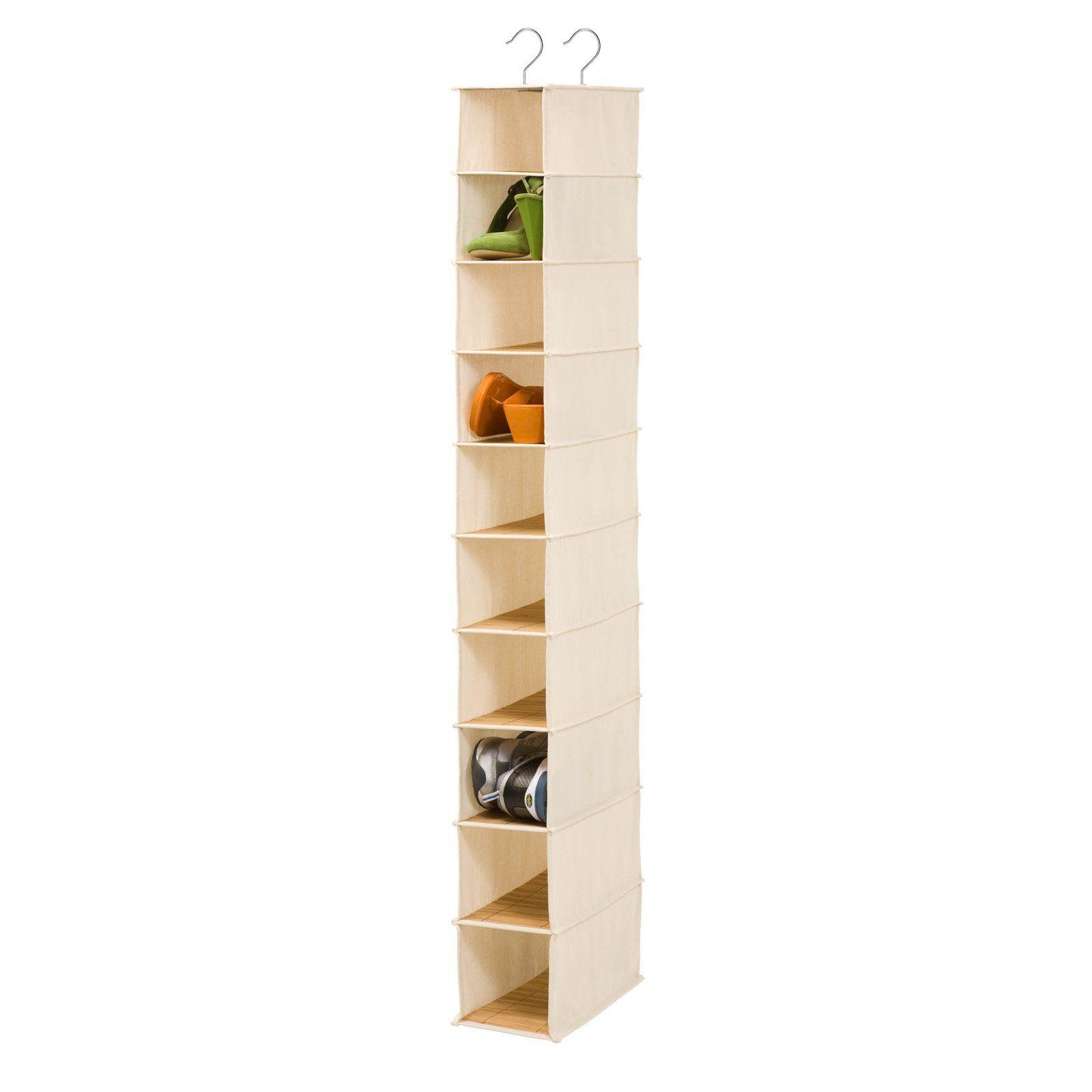 Honey Can Do 10 Shelf Shoe Organizer Bamboo Hanging Shoe