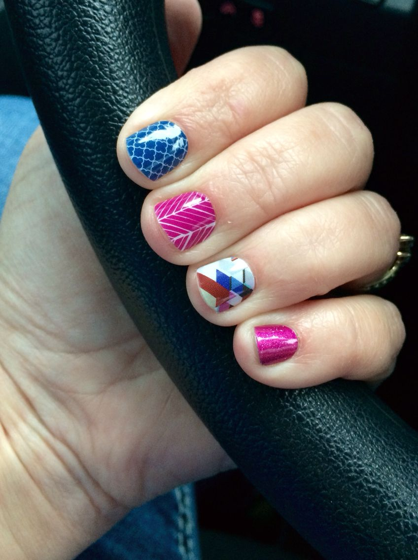 I absolutely love my short nails with Jamberry wraps!! Navy ...