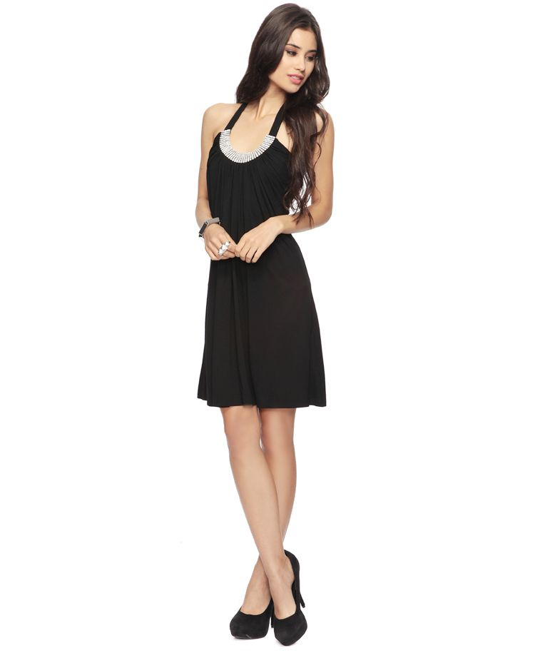 Rhinestone Halter Dress (So cheap yet pretty little black dress!)
