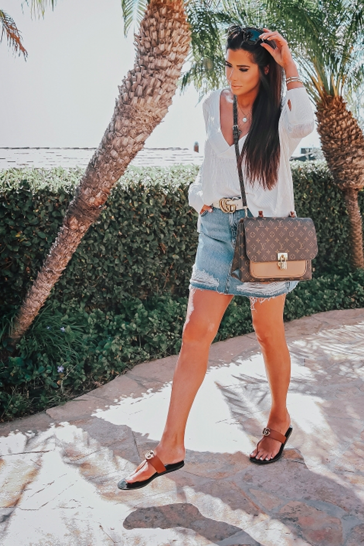 2e1fd09d9599a5 Topshop ripped Denim skirt, t strap Gucci Sandals, Louis Vuitton Bag, white  tee. Emily Gemma Instagram, Casual Summer Outfit, Casual Spring Outfit, ...