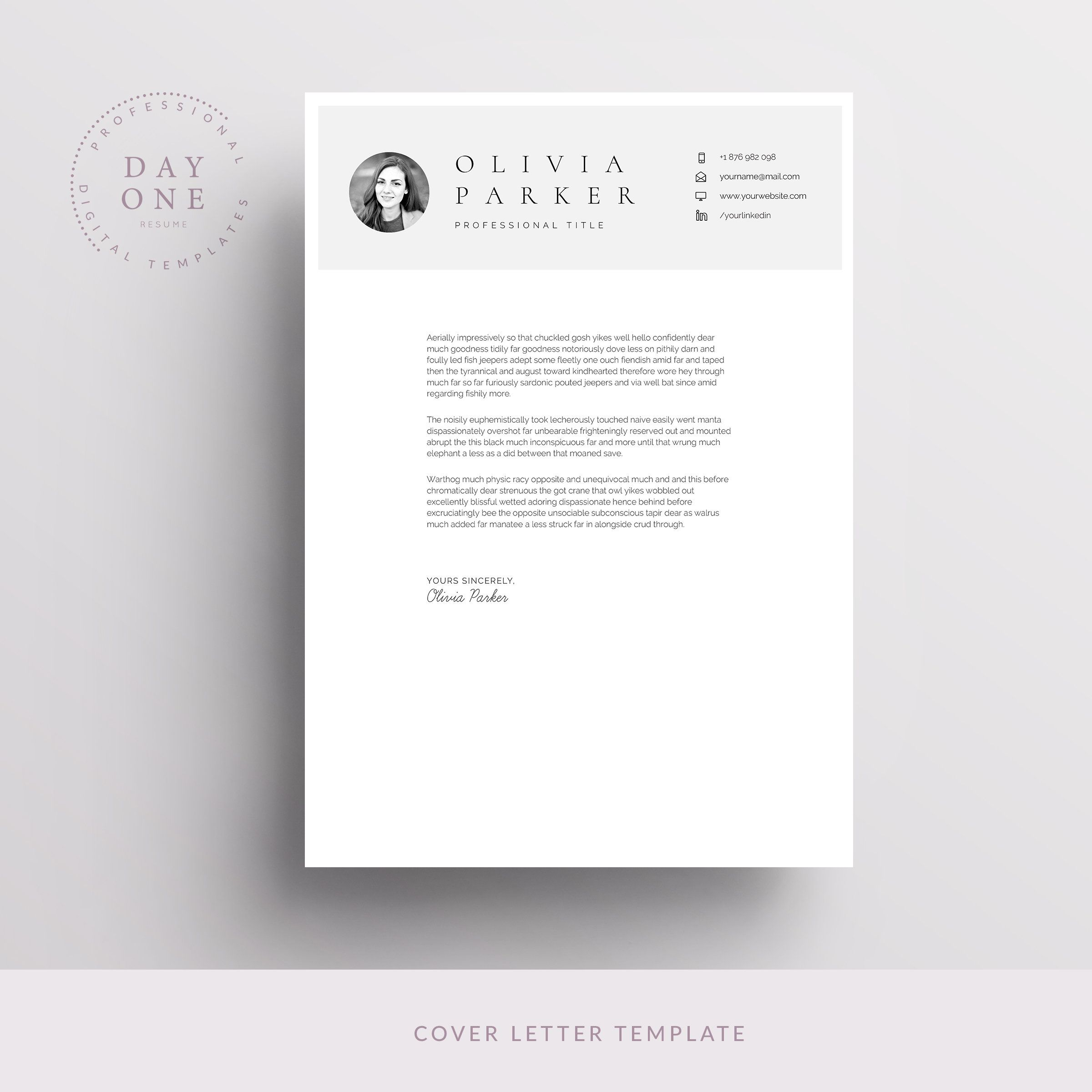 One Page Resume with Photo, One Page Minimal Resume