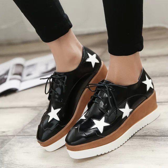 a86b9a72a25 SJ Estilo Estrellas para Mujer Charol Plataforma Plana Zapatos Oxford Con  Cordones Formales