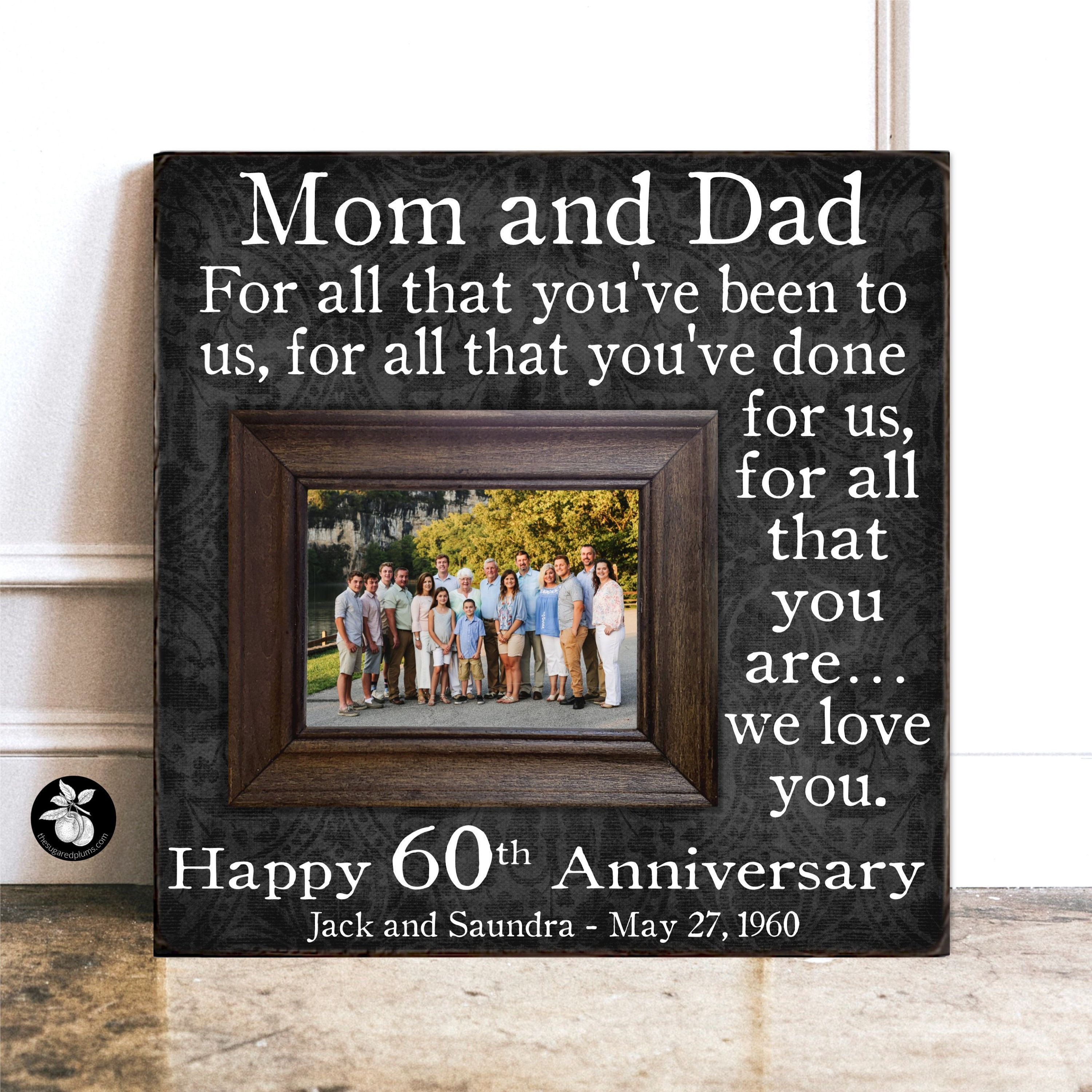60th Anniversary Wood Picture Frame, 60th Wedding Anniversary Gifts, Photo Gifts... #60th #anniversary #Frame #gifts #photo #picture #wedding #Wood
