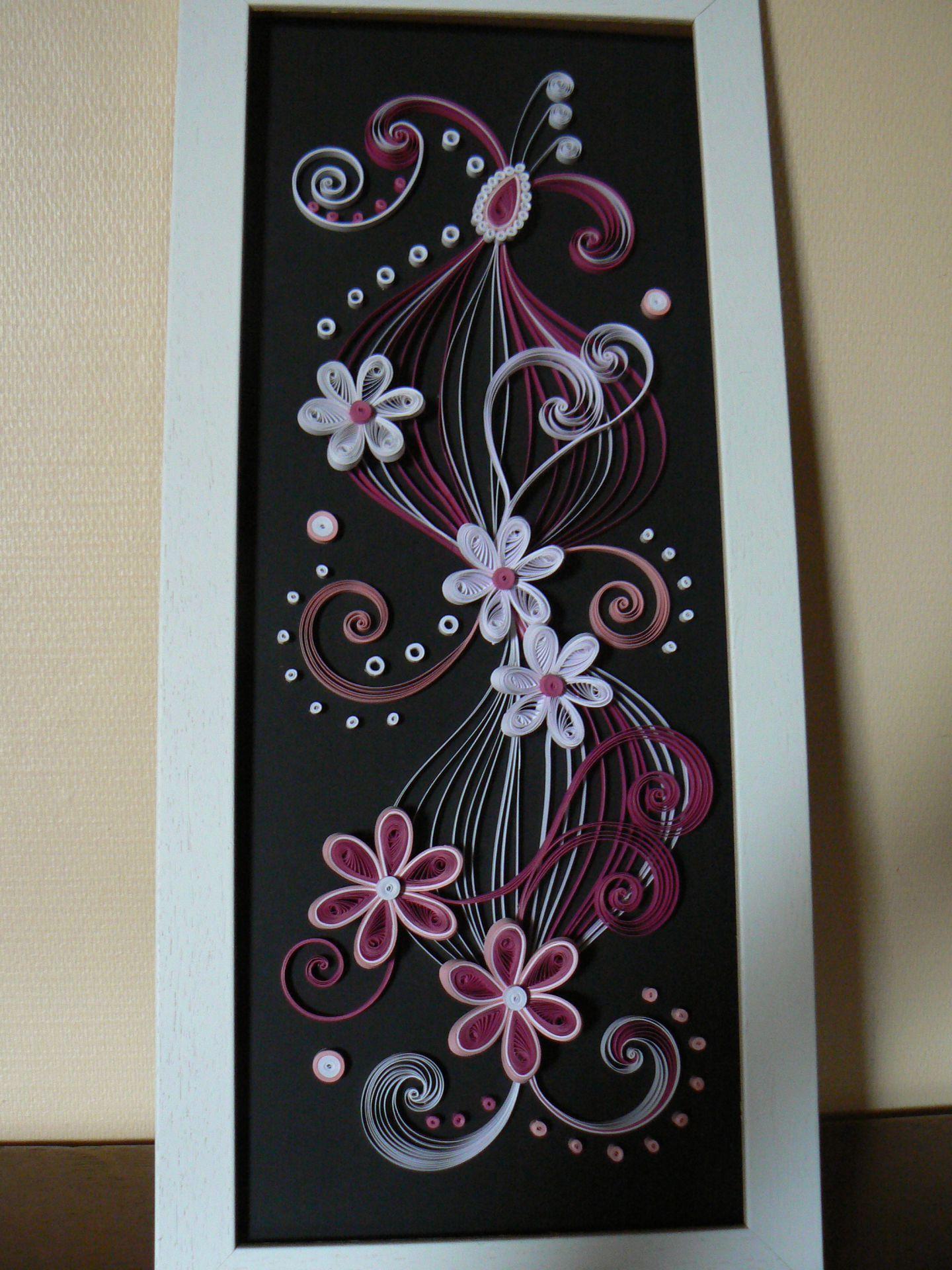 tableau rose et blanc quilling pinterest tableau. Black Bedroom Furniture Sets. Home Design Ideas