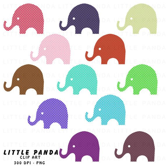 50 off SALE  Polka Dot Elephants Digital by LittlePandaDigitals, $1.75