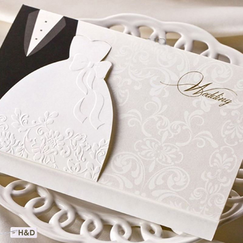 1pcs Sample Laser Cut Wedding Invitations Cards Western Groom Bride Customize Printable Envelopes Seals