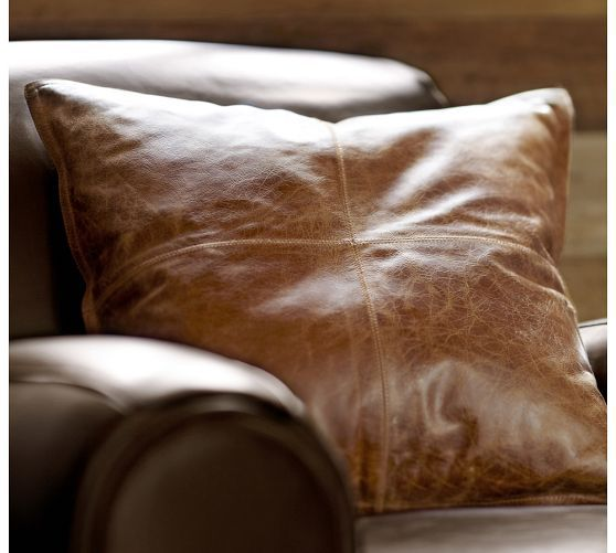 Pieced Leather Pillow Cover | Pottery Barn | New Bedding ...