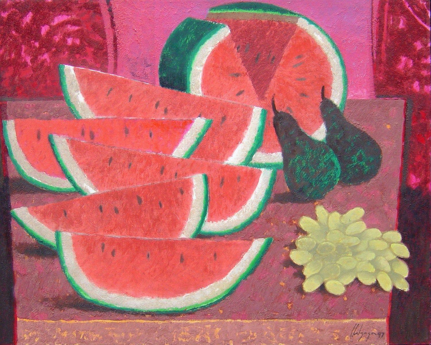 Jorge Alzaga, Sandías, 1997, óleo sobre tela, 80 x 100 cm.