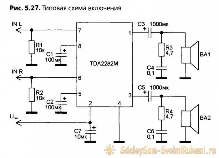 tda2822m simple low power stereo amplifier