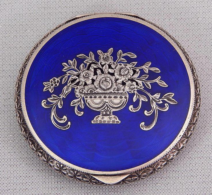 ART DECO COMPACT STERLING SILVER GUILLOCHE ENAMEL AUSTRIAN SILVER COBALT BLUE